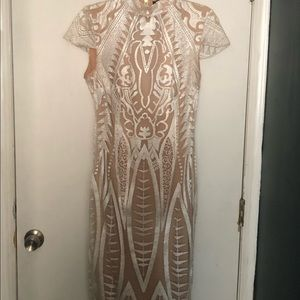 Altered Peace + Love high neck white lace dress